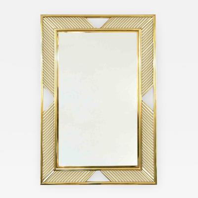 Cosulich Interiors Antiques Contemporary Minimalist Italian Gold Brass Mirror with Modern Baguette Fretwork