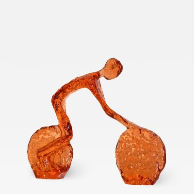 Cosulich Interiors Antiques Contemporary Tangerine Orange Modern Lucite Sculpture of Minimalist Cyclist