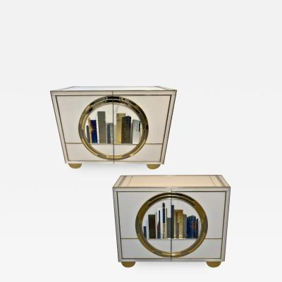 Cosulich Interiors Antiques Italian Contemporary Bespoke Ivory Cabinets with Blue and Gold Decor
