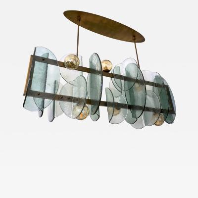 Cosulich Interiors Antiques Italian Modern Fontana Arte Style Aqua Murano Glass Geometric Bronze Chandelier