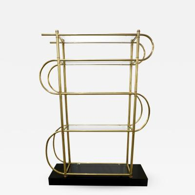 Cosulich Interiors Antiques Italian Modern Gold Brass Tubular Shelving Unit tag re on Black Lacquered Base