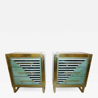 Cosulich Interiors Antiques Italian Modern Pair of Geometric Green Ivory White and Brass Chests Nightstands