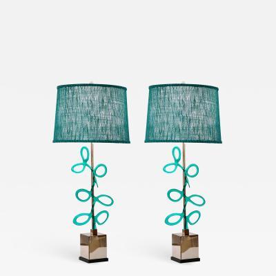 Cosulich Interiors Antiques Italian Pair of Silver Color Nickel Lamps with Aqua Blue Murano Glass Swirls