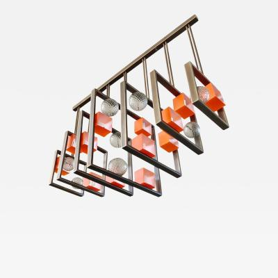 Cosulich Interiors Antiques Minimalist Bronze Brass Cubic Chandelier with Orange White Murano Glass Cubes