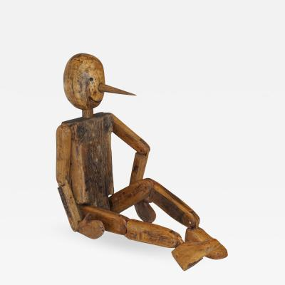 Cosulich Interiors Antiques Modern 1960s Italian Vintage Life Size Articulated Wooden Pinocchio Sculpture