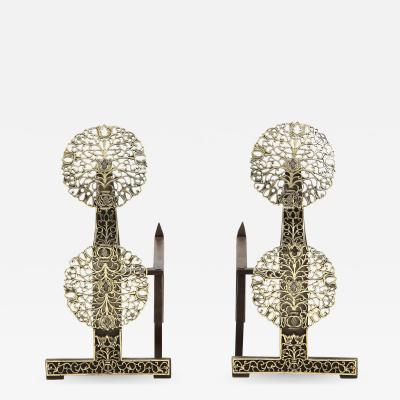 Cotswold School Pair of Arts and Crafts Mixed Metal Andirons