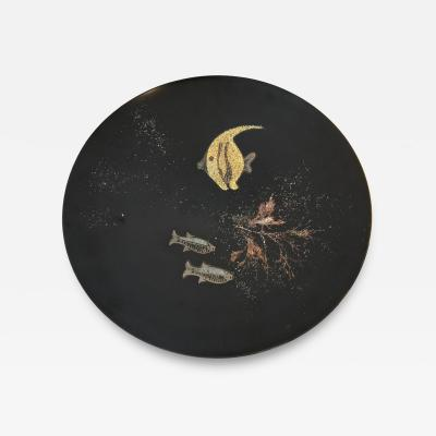 Couroc of Monterey Black lacquered platter in mother of pearl by Couroc