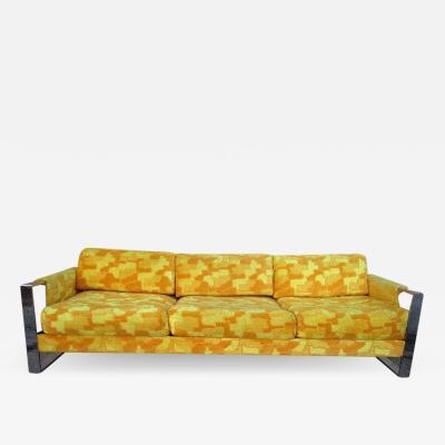 Craft Associates Gorgeous Wide Chrome Band Sofa Mid century Modern
