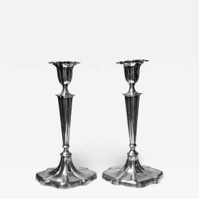 Crichton Co Georgian style Sterling Silver Candlesticks Crichton London 1917
