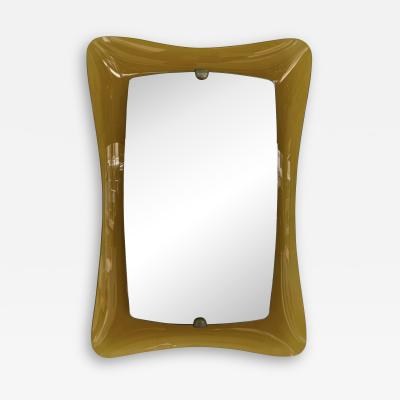 Cristal Art Mirror Amber Curve Glass by Cristal Art Italy 1960s