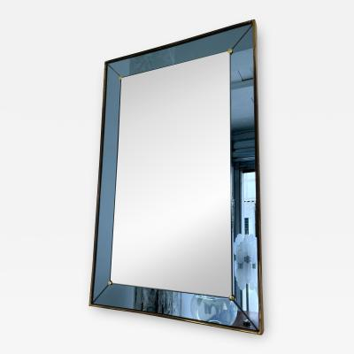 Cristal Art Mirror Blue and Brass by Cristal Art Italy 1960s