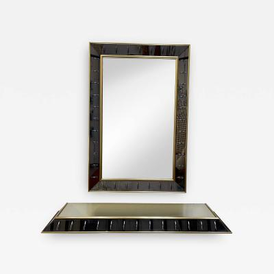 Cristal Art Mirror Console Glass and Brass by Cristal Art Italy 1960s