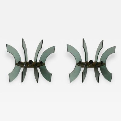 Cristal Arte 1950s Pair of Mid Century Modern Cristal Art Green Glass and Brass Wall Sconces
