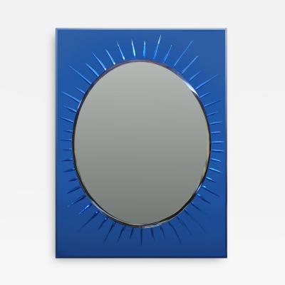 Cristal Arte Cristal Art Italian Mid Century Modern Blue Crystal Rectangular Mirror 1950s