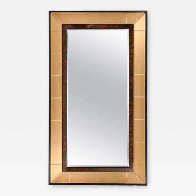 Cristal Arte Italian 1950s Cristal Arte Amber Rose Gold Glass and Burl Wood Mirror