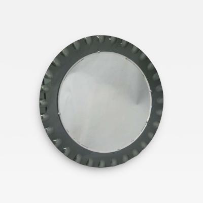 Cristal Arte Italian Mid Century Modern Neoclassical Engraved Sunburst Mirror by Crystal Arte