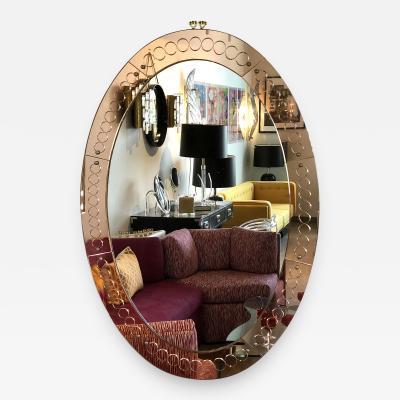 Cristal Arte Large Mid Century Modern Cristal Arte Oval Glass Mirror Italy 1960s