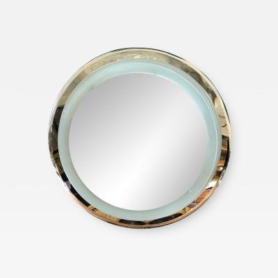 Cristal Arte Lighted Glass and Chrome Plated Round Wall Mirror by Cristal Art circa 1960s