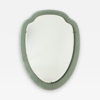 Cristal Arte Mid Century Italian Smoked Glass Shield Mirror Cristal Arte