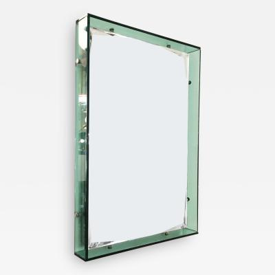 Cristal Arte Rectangular Turquoise Mirror by Cristal Art Italy 1960s