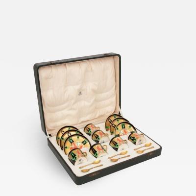 Crown Devon Art Deco Crown Devon Orient Coffee Set with Mappin Webb Silver Gilt Spoons
