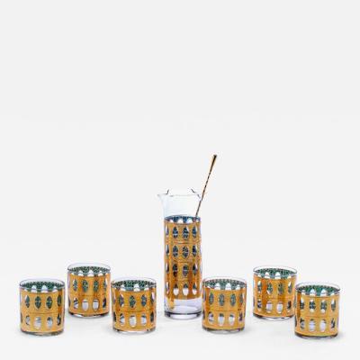Culver Ltd Mid Century Modern Culver Gold Plated Cocktail Mixer Rocks Glasses Set c 1965