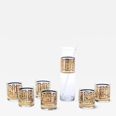 Culver Ltd Mid Century Modern Greek Key 22K Gold Cocktail Mixer and Set of 6 Rocks Glasses
