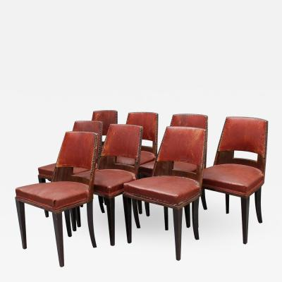 D I M DIM Decoration Interieur Moderne Set of 8 Fine French Art Deco Dining Chairs by DIM