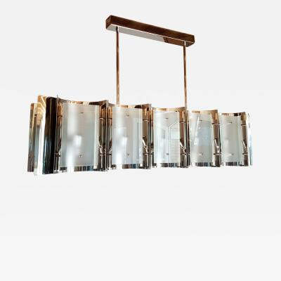 D Lightus Mid Century Modern Style Dlightus Bespoke Nickel and Frosted Glass Chandelier