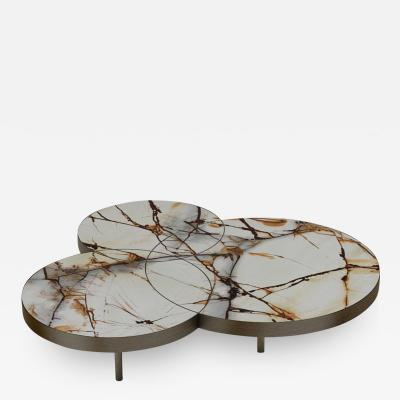 DESIGNLUSH MARBLE INTERSECT ROUND COFFEE TABLE