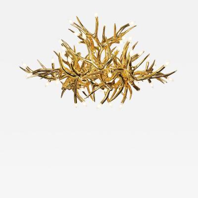 DESIGNLUSH METALLIC GOLD ANTLER CHANDELIER