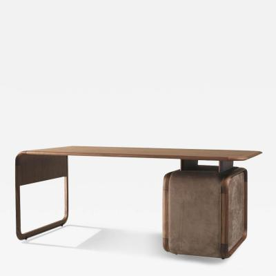 DESIGNLUSH WOOD LEATHER EXECUTIVE DESK