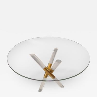 DWM MALOOS Brass and Lucite Crossed Base Table