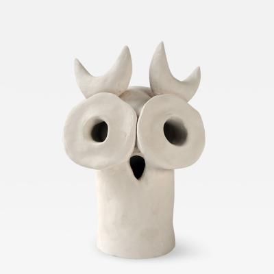 Dainche ARTHURO White ceramic owl sculpture