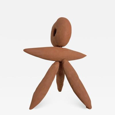 Dainche FUNAMBULE Red raw clay sculpture