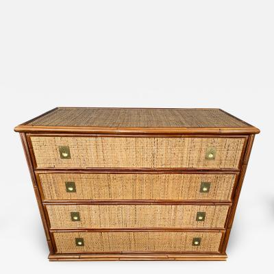 Dal Vera Bamboo Rattan and Brass Chest of Drawers by Dal Vera Italy 1970s