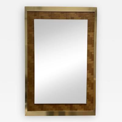Dal Vera Bamboo and Brass Mirror by Dal Vera Italy 1970s