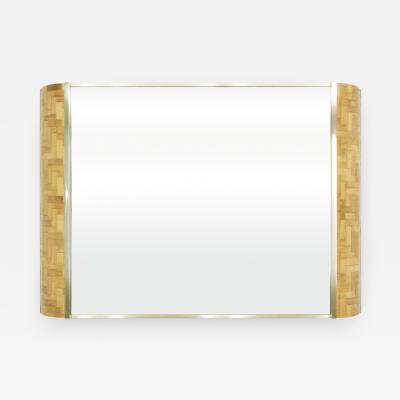 Dal Vera Italian rattan bamboo and brass mirror by Dal Vera 1970s