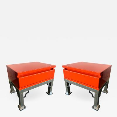 Dal Vera Pair of Lacquered Side Tables by Dal Vera Italy 1980s