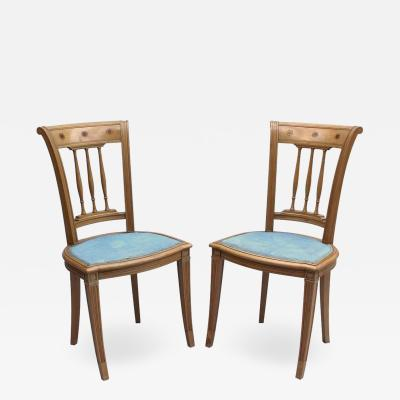 Damon Bertaux 2 Fine French Art Deco Chairs by R Damon Bertaux Matching Desk available