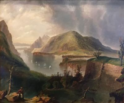 Dana Tillou Fine Art Edmund Coates attrib View of the Hudson and West Point from Fort Putnam