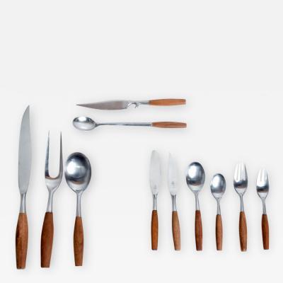 Dansk Mid Century Danish Modern Dansk Flatware Set 53 Pieces Teak Stainless