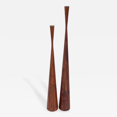 Dansk Pair of Very Tall Danish Sculptural Teak Candlesticks