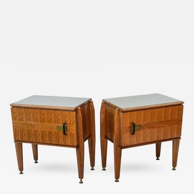 Dassi Pair of Italian Modern Inlaid Mixed Wood and Bronze Night Tables Dassi