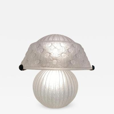 Daum Acid Etched Glass and Wrought Iron Table Lamp