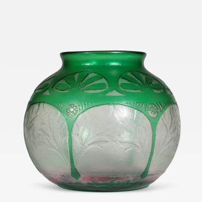 Daum Art Deco Acid Etched Glass Vase by Daum
