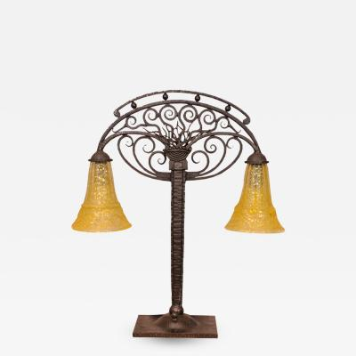 Daum Art Deco Table Lamp with Glass by DAUM