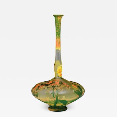 Daum Art Nouveau Cameo Glass Vase by Daum