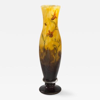 Daum Art Nouveau Enameled and Etched Glass Vase by Daum