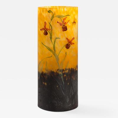Daum Art Nouveau Enameled and Etched Glass Vase by Daum